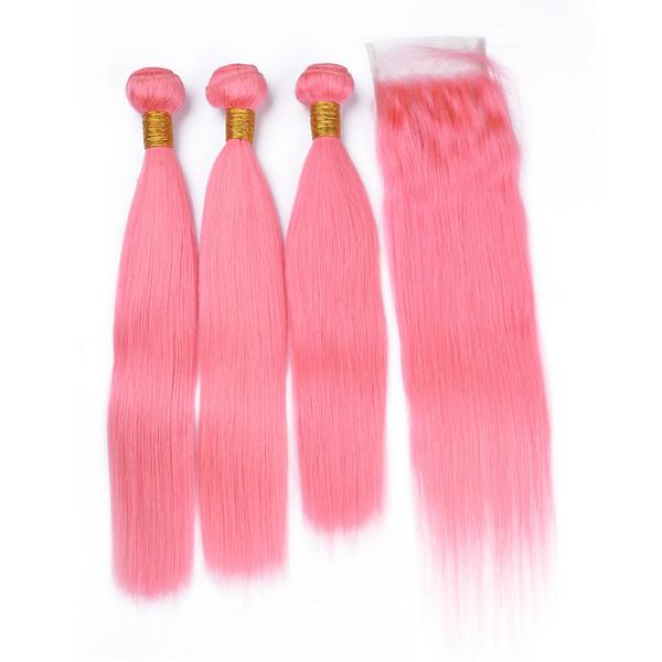 Rosa Farbe Haar 3 Bundles mit Spitze Schließung unverarbeitete brasilianische Jungfrau gerade Haarverlängerungen mit farbigen rosa Top Lace Closure 4 x 4