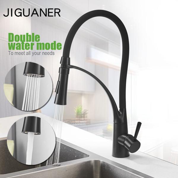 Black Kitchen Faucet Pull-Down Sprayer 360 Rotation Kitchen Mixer Tap Bathroom Vessel Sink Faucet Black Rubber Single Handle