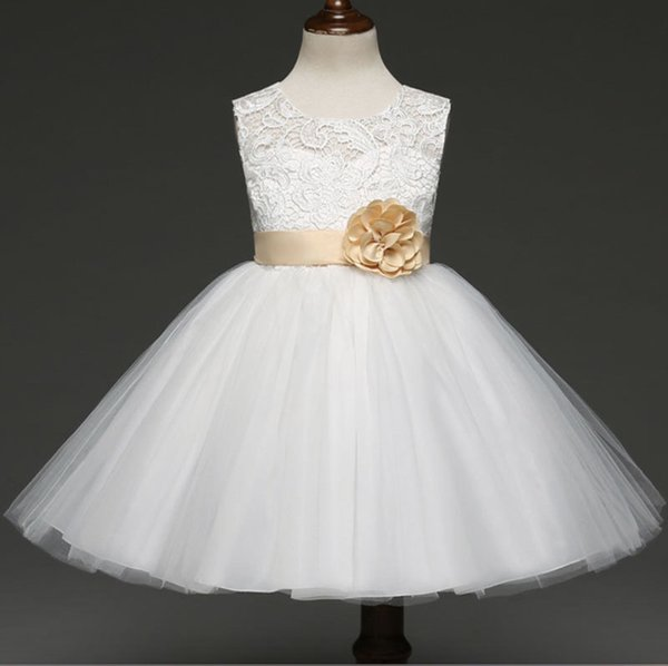 Fashion flower princess dresses for children best gift high-grade bow dress 5 size free shipping RC113451