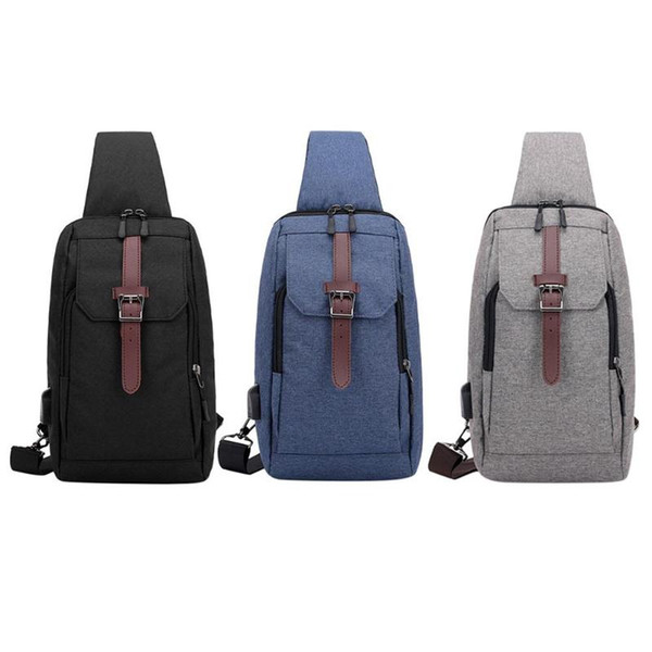 Nylon Men Chest Pack USB Charging Single Shoulder Strap Back Bag Crossbody Bags for Women Sling Shoulder Bag Back Pack Travel