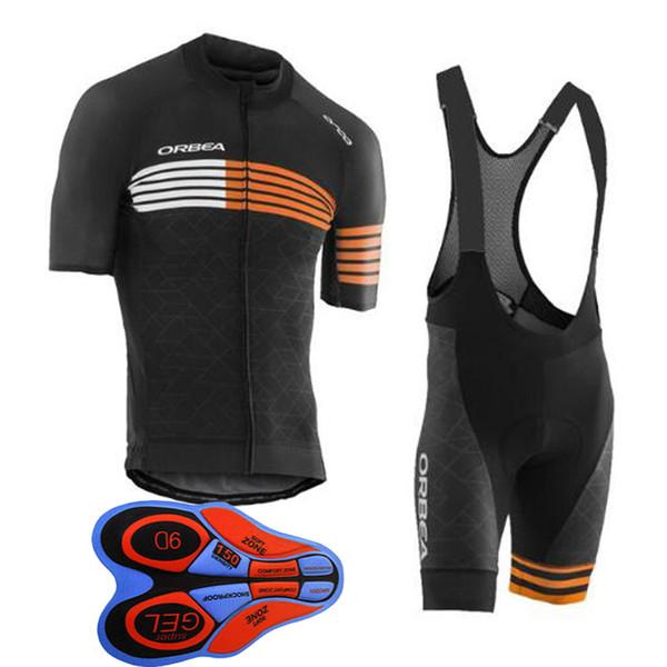 Erkekler yaz orbea Bisiklet forması bisiklet giyim Kısa Kollu gömlek 9D önlüğü şort Nefes hızlı kuru Bisiklet Aşınma 60503