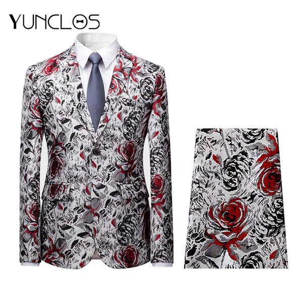 YUNCLOS Rose Jacquard trajes de hombre 2 piezas de un solo pecho trajes delgados Tuexdos Casual Slim fit hombres traje de vestido de fiesta de boda