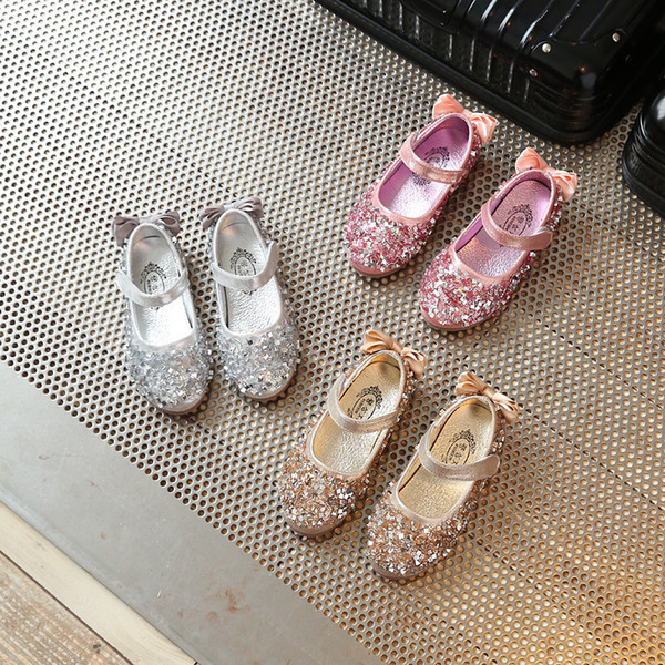 Gold Girls Kids Children Rhinestones Princess Sandals Stage Dance Wedding Dress Party Shoes For Girls Baby Single Shoes New 2018