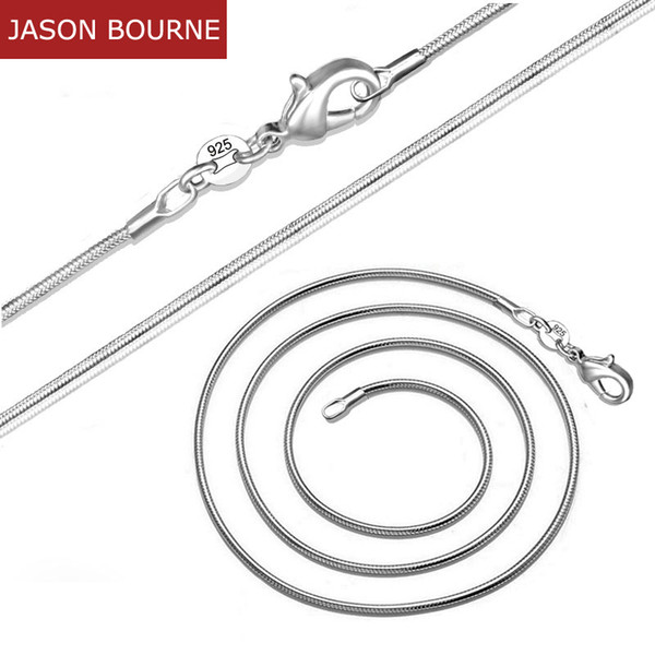 [JASON BOURNE]1.2MM Snake Chian Neckalces For Women Girl Fit Pendant Cooper Silver Plated Trendy Fashion Jewelry 10-30 inch N004