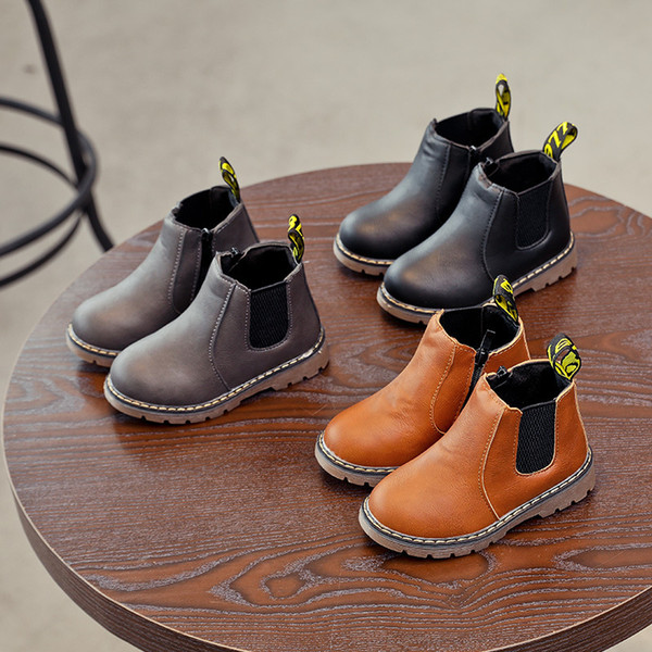 best selling Size 21-36 Fashion Autumn Winter Baby Girls Boys Boots For Children Martin Boots Ankle Zip Leather Girl Casual Toddle Shoes