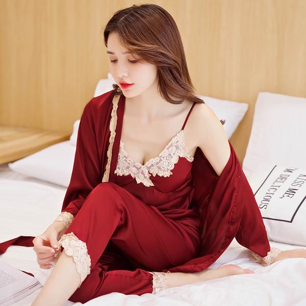 3 Adet kadın robe kıyafeti setleri kaliteli seksi ipek saten kıyafeti dantel üst pantolon uzun kollu bornoz askısı yastıklı gecelik