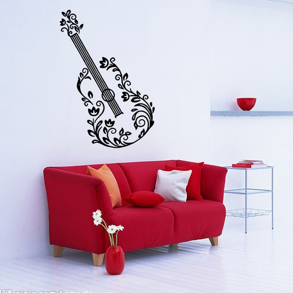 Music Guitar Wall Stickers Wallpapers Waterproof PVC Arts Murals Can Be Removable Sitting Room Bedroom Classroom Decor Free Shipping
