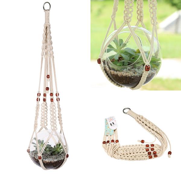 Hanging Macrame Plant Hanger Planter Holder Basket For Garden Flower Pot Indoor Outdoor Decoration ,Cotton Rope ,35 Inch (89cm )