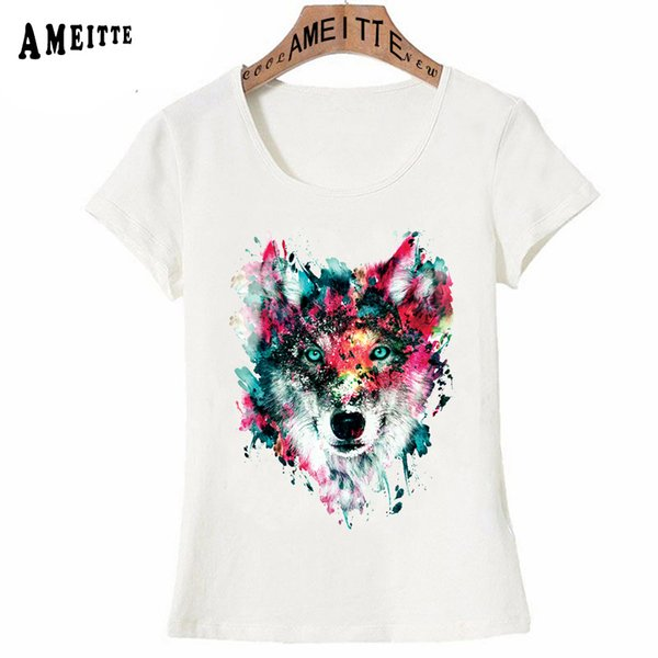 New Summer Women T-shirt Colorful Wolf Head Watercolor Tattoo T-Shirt Funny Animal Design Girl Casual Tops Fashion Woman Tees