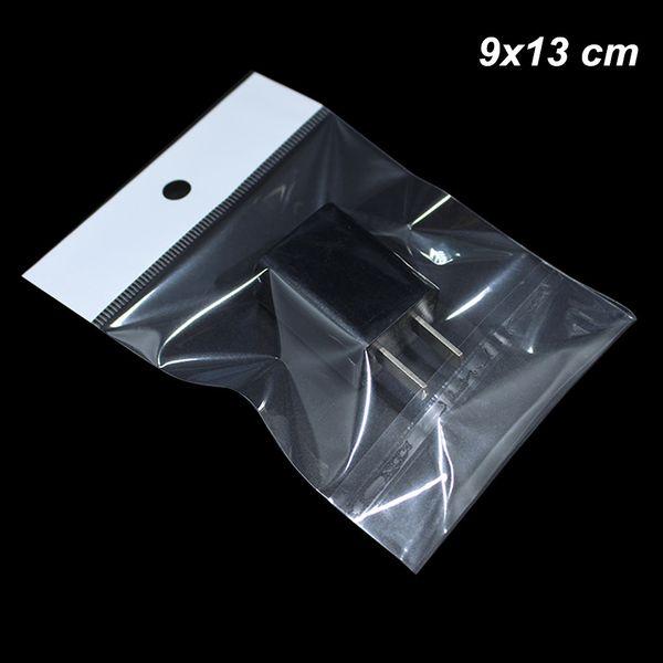 9x13 cm klar OPP Poly Kunststoff Self Sealing Hanging Crafts Aufbewahrungsbeutel USB Kabel Self Sealable Plastic Transparent selbstklebende Pack Taschen