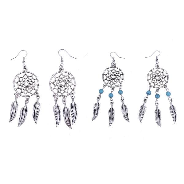 1 Pair Feather Tassel Dangle Earrings Dream Catcher Shaped Ear Plugs Pendant Fashion Women Ears Piercing Jewerlry Accessories