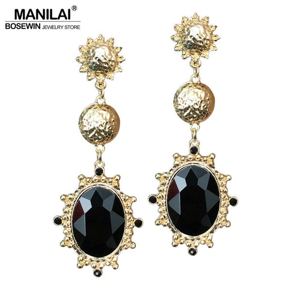 Dangle MANILAI Vintage Big Black Resin Gems Dangle Earrings For Women Fashion Jewelry Gold Color Zinc Alloy Statement Earrings Long