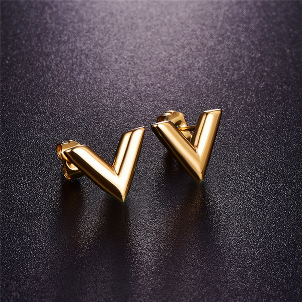 best selling 316L Stainless Steel Earrings For Women Rose Gold-color Brand V Letter Triangle Cute Stud Earrings Jewelry Gift