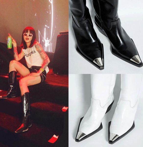 Arden Furtado 2018 spring autumn genuine leather knee high boots women's shoes ladies white metal toe fashion boots ladies 41 42