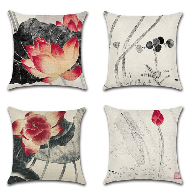 Throw Cushion Pillow Covers Square Pillowcase Lotus Ink Painting Decorative for Sofas Beds Chairs Cushion Cover Set of 4, 18 x 18 Inch