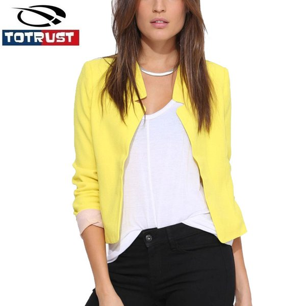 Compre Slim Blazer Chaqueta Negra Para Mujer 2016 Moda Otoño Chaqueta Blanca Mujer Abrigo EleSuit Outwear OL Short Jacket A $38.04 Del Houmian  
