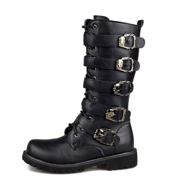 Army Boots Men High Military Combat Boots Metal Buckle Punk metà polpaccio maschile Stivali da moto Lace Up Scarpe da uomo Rock