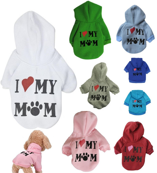 8 Colors Pet Clothes Puppy Winter Hoodie Sweater Dog Coat Warm Sweatshirt Love My Mom Printed Dog Shirt