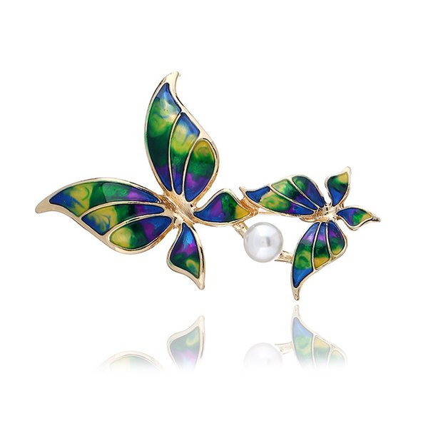 European and American Fashion Retro Brooch with Diamonds Painted Insect Brooch Butterfly Alloy Brooch