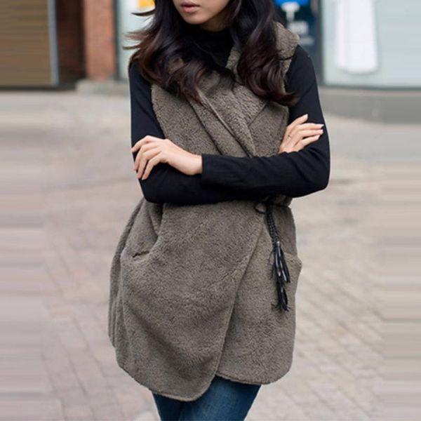 Winter Fur Vest Hoodie Faux Lamb Fur Long Vest Women Coat colete feminino de inverno Veste Female Waistcoat