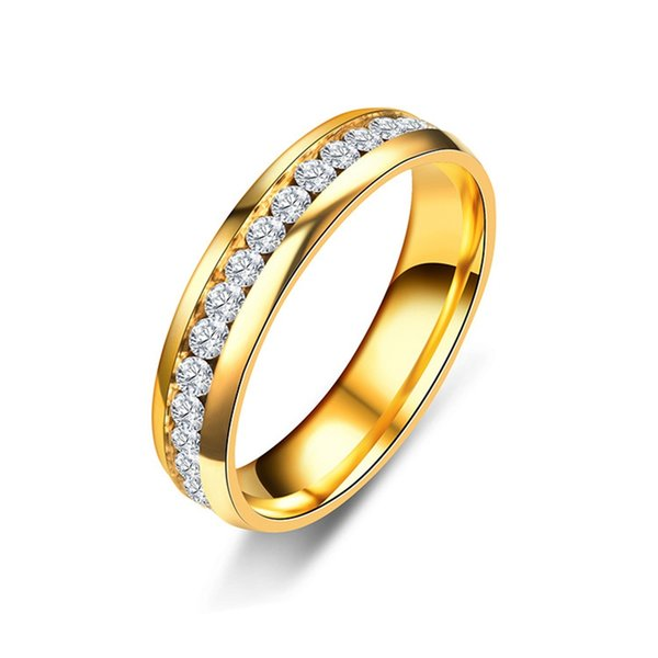 QCOOLJLY Classic Gold Color Crystal Wedding Ring for Women 6mm Stainless Steel Engagement Couple Finger Rings Jewelry Gifts