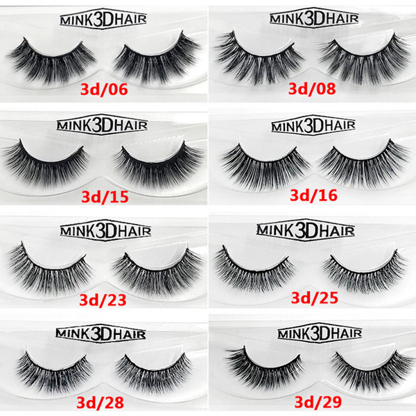 12 styles Selling 1pair/lot 100% Real Siberian 3D Mink Full Strip False Eyelash Long Individual Eyelashes Mink Lashes Extension
