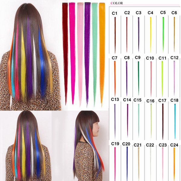 24 color Fashion wig piece hot roll cut wig piece colorful Europe and America cool gradient hair piece Party Supplies AAA1050