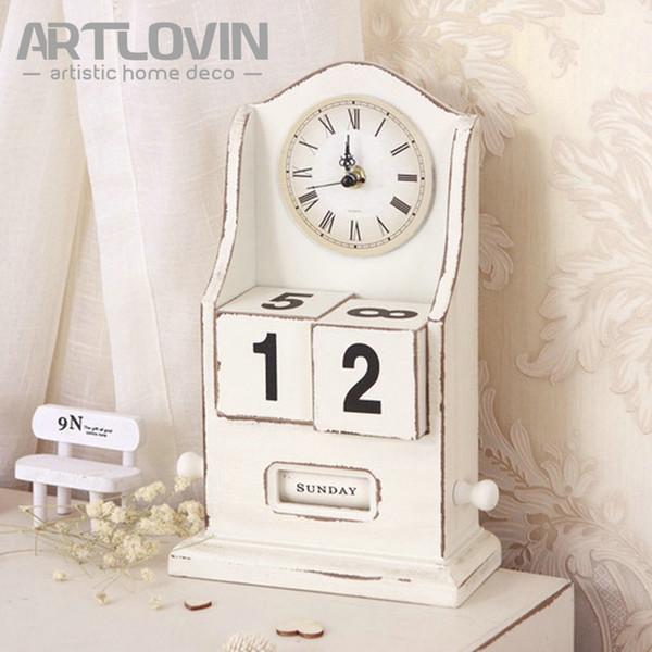 Vintage European Wooden Table Clock With Calendar Home Decor Garniture Antique Digital Desk Clocks with Roman Numeral Pointer