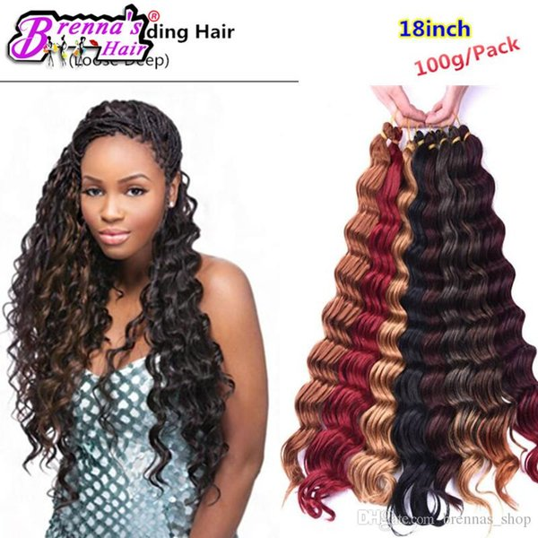 Dark Brown Synthetic Ombre Braiding Hair Extensions Deep Wave Crochet Braids Hair bundles Syntheti weave freeshipping to USA AMERICA UK