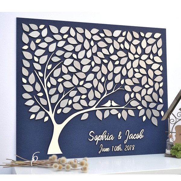 Custom 3D Wedding Guest Book Tree, Personalized Guestbooks Ideas, Unique Guest Book For Wedding, Rustic Guest Books Love Birds