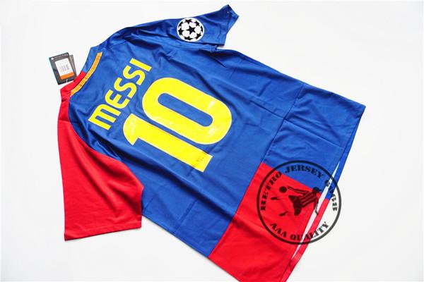 Free shipping 2008-09 home messi xavi henry puyol david villa retro jersey match deatils player version