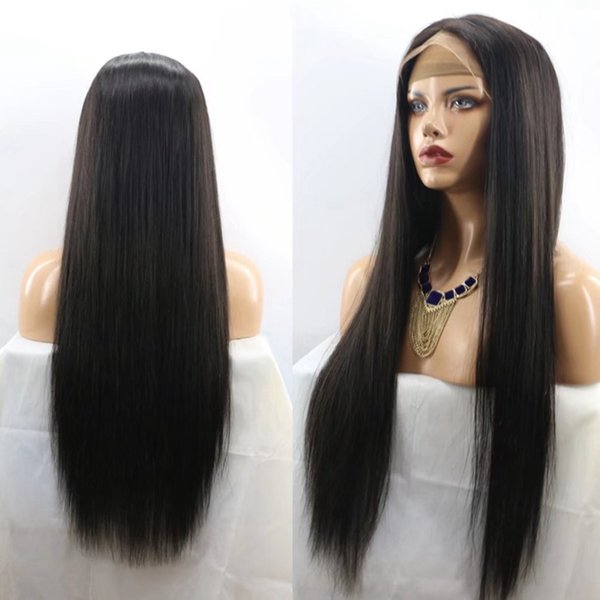 Lace front Synthetic Wigs Long Black Natural Straight Hair Heat Resistant African American Cheap Full Lace Wig for Black Women High Quality