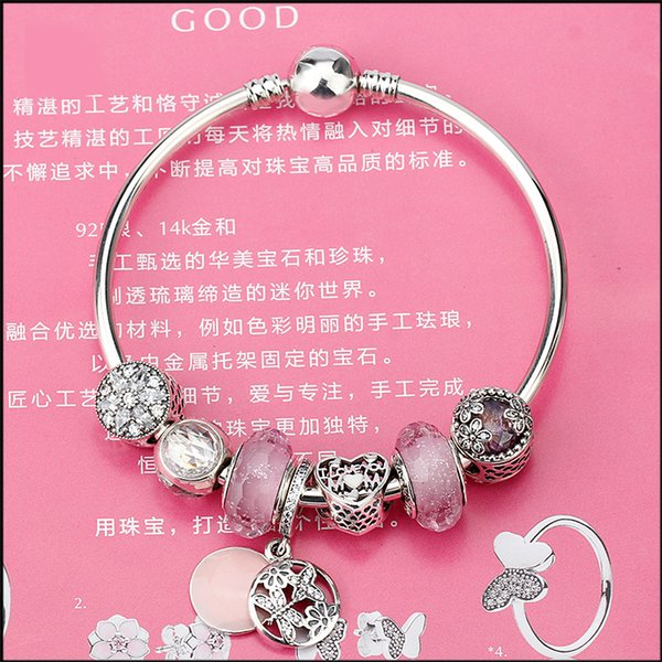 Authentic 100% 925 Sterling Silver Springtime Dangle Radiant Bloom Charm Pink Glass Bead Bangles & Bracelet for Women Jewelry Original Gift