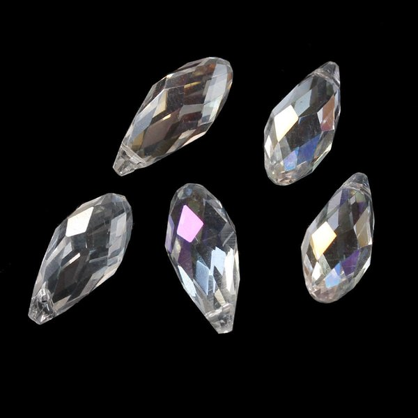100pcs/lot WHITE AB Faceted Teardrop CLEAR Crystal Glass Loose Beads 6*12mm Jewelry DIY Loose Beads Hot sell Items