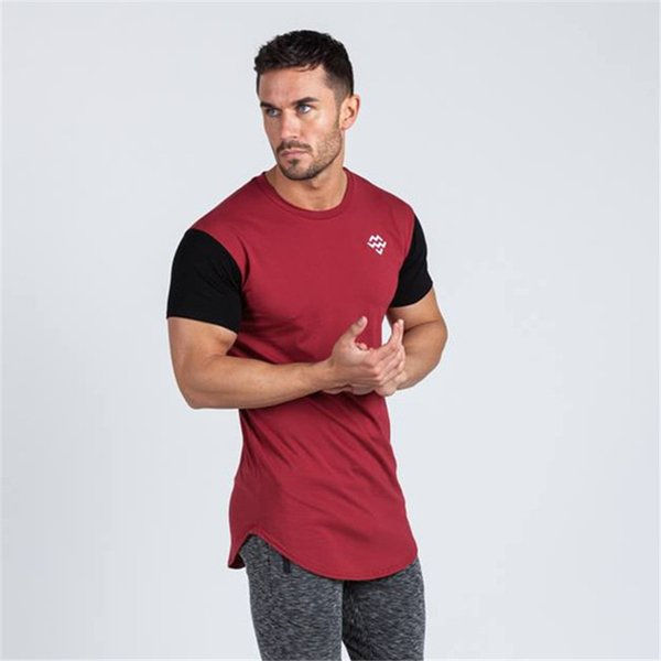 TEMENGSI Brand New Cotton Men's Tshirts Sport Short Sleeve Crewneck T-shirts Classic Solid Sport Shirts Male Workout Tees