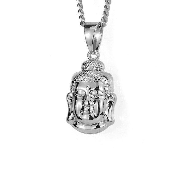 Fashion Men Jewelry Ice Out Silver Color Charm Small Buddha Pendant Necklace 60cm Long Chain Rock Micro Hip Hop For Mens