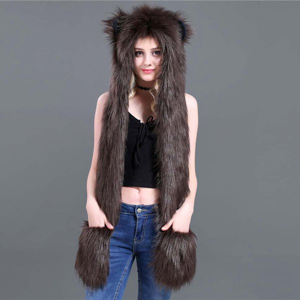 Fashion Winter Animal Ear Hat Faux Fur Hat Belt Scarf and Glove Set for Men Women Wolf Tiger Hood Cap Bomber Hats Christmas Gift