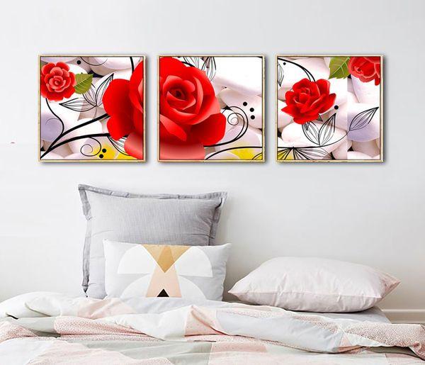 Rosa brillante Decorativo Habitación de los niños Lienzo Arte de la pared Pintura y flor Impresión de carteles Sin adornos enmarcados