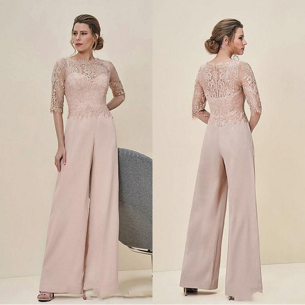 New Cheap Jumpsuits Lace Mother Of The Bride Pant Suits Bateau Neck Half Sleeves Wedding Guest Dress Chiffon Plus Size Mothers Groom Dresses