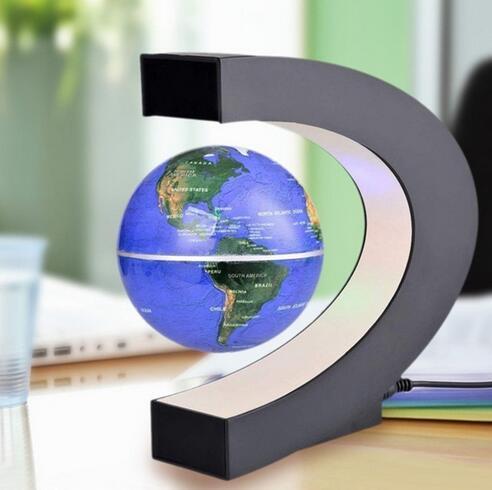 EU Blue Levitation Anti Gravity Globe Magnetic Floating Globe World Map LED Light For Children Gift Home Office Desk Decoration