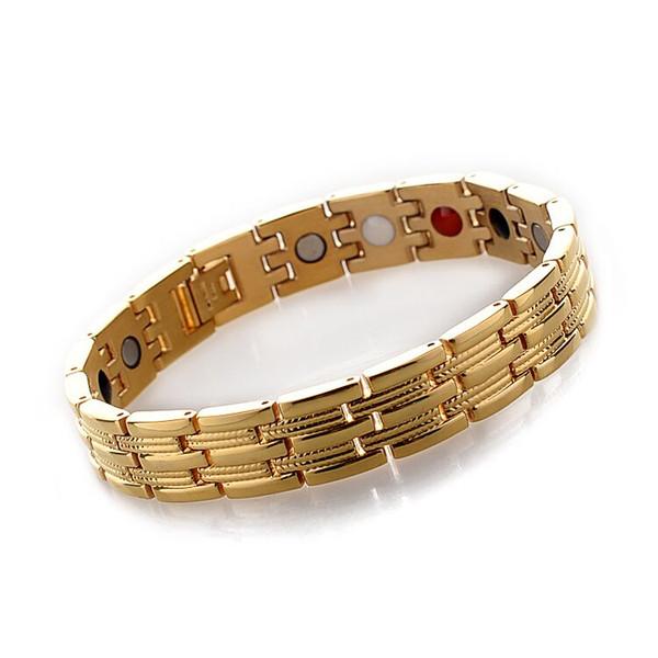 stainless steel heart chain gold men energy magnetic therapy titanium germanium health bracelet rhinestone numbers wholesale bio