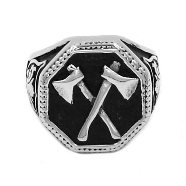 Free shipping! Wholesale Slavic Perun Axe Biker Ring Stainless Steel Jewelry Punk Classic Slavic Perun Motor Biker Ring For Men SWR0711B