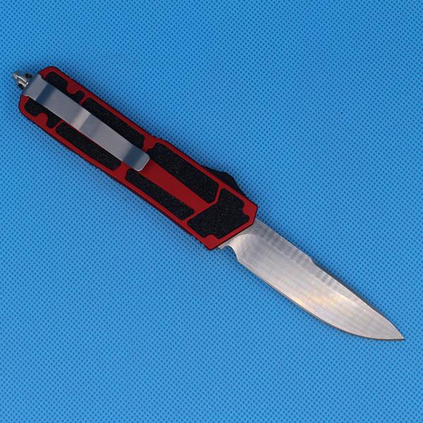 Promoción Red Auto Tactical cuchillo Single Edge Drop Point Fine Satin Blade Aviación mango de aluminio EDC Pocket Knife supervivencia Knives