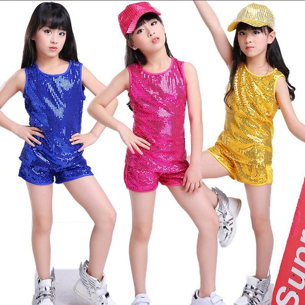 Blue Kids Stage wear Vestidos para bailes modernos Salón de baile Jazz  Baile Tops + Pantalones 2851eacfe2d
