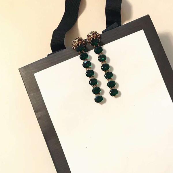 Long Tassels Earring Italy Brand Lion Head Animal Stud Classic Design Brass Women Party Wedding Earring Handmade Jewelry