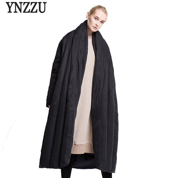 YNZZU Brand Luxury Winter Jacket Women European Style Extra Long Quilt Warm Loose Duck Down Coats Female Snow Overcoat YO374 S18101306