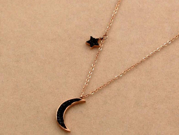 Hot explosions black full diamond stars moon short rose gold necklace hipsters wild mud drill titanium steel clavicle chain