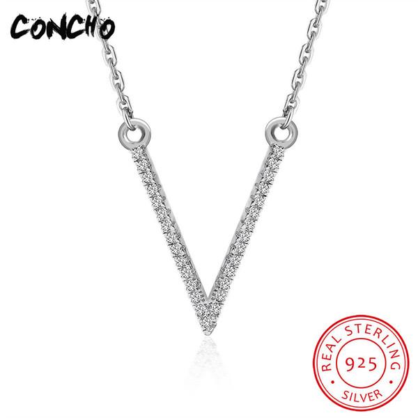 Concho joyería 925 plata esterlina Zircon collar para las mujeres del banquete de boda 2018 moda carta encantos colgante collar