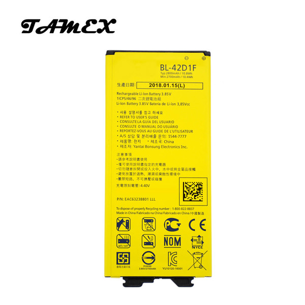 top popular BL-42D1F Li-ion Replacement Battery For LG G5 VS987 US992 H820 H850 H868 H860 Phone Batteria Fast Shipping 2800mAh 2019