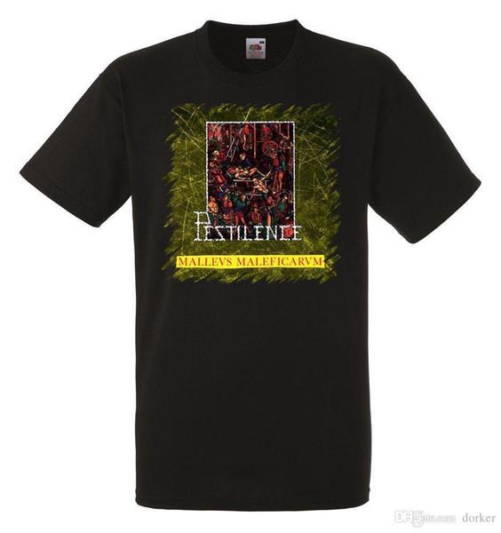 Cotton Shirts PESTILENCE MALLEUS MALEFICARUM Mens Black Rock T-shirt NEW Sizes S-XXXL Plus Size Casual Clothing